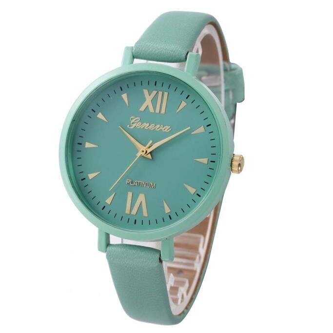 Women Time Fine Watch strap Leather Analog Simple Clock Dial Wrist Watch Green - intl