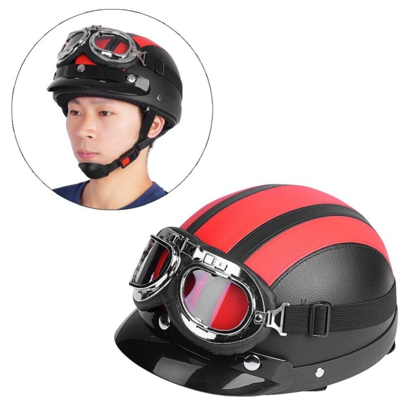 YOSOO Universal Motorcycle Synthetic Leather Open Face Helmet Goggles Red - intl