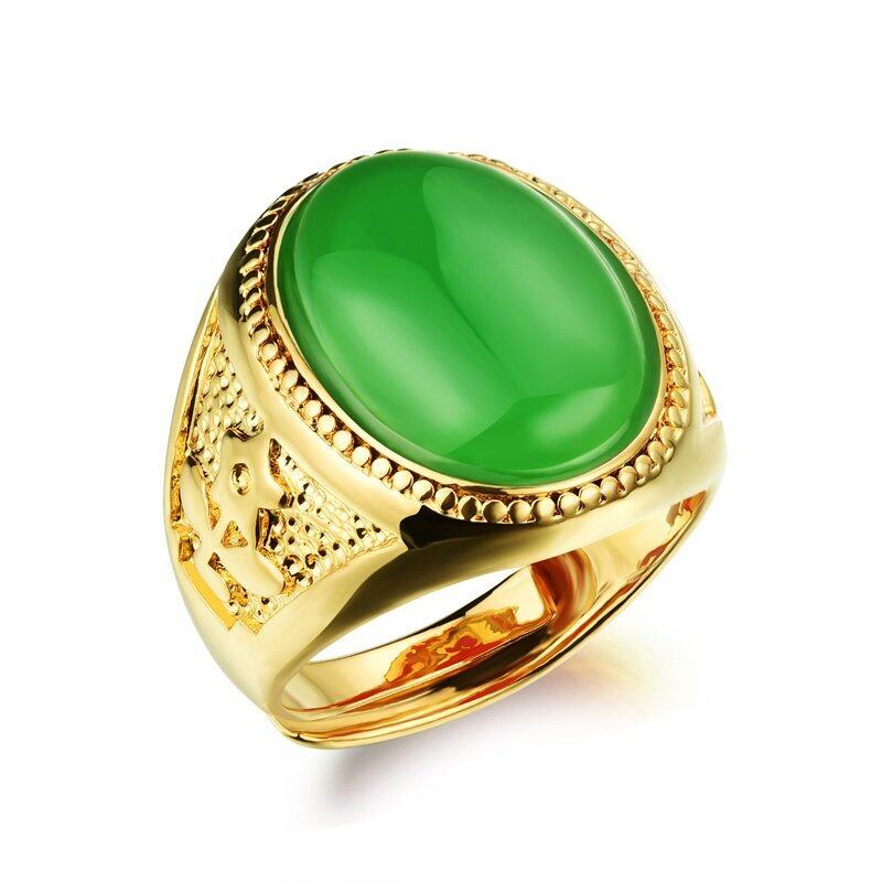 ZUNCLE Men 18K Gold Plated With Big Gem Rings(Green)