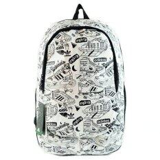 Adidas Backpack กระเป๋าเป้กีฬา Nylon 85% Polyester 15% - สีขาวพิมพ์ลายดำ