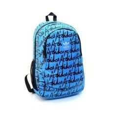 Adidas backpack schoolbag กระเป๋าเป้ไนล่อนกันน้ำพิมพ์ลาย - สีฟ้าลายดำ
