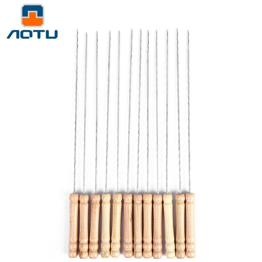 AOTU 12pcs BBQ Roasted Skewers Needles for Grill Camping Accessory (Silver)