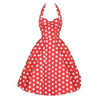 Audrey blue polka swing dress vintage - Retro Audrey Hepburn Dress Woman Vintage Dress 50s 60s Big Swing Polka