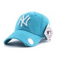 NY หมวกแฟชั่น-หมวกเบสบอล ผ้าใบปักลายนูน (สีฟ้า)