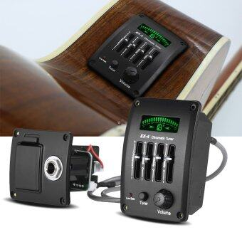 Acoustic Guitar 4-Band EQ Equalizer Tone and Volume Amplifier Preamp Piezo Pickup with Chromatic Tuner LCD Display - intl