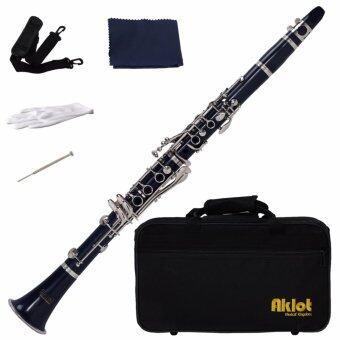 Aklot Bb Beginner Clarinet 17 Keys with Durable Dark Blue ABS Bodywith Reed Best - intl
