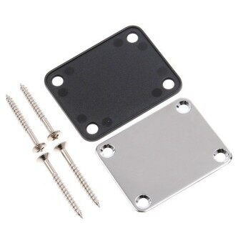 Chrome Electric Guitar Neck Plate Neckplate wit 4 Mounting Screws