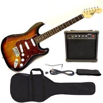 Cravis กีตาร์ไฟฟ้า Electric Guitar Set ทรง Stratocaster Fender พร้อม แอมป์ 15W, สายแจ็ค,สายสะพาย,ปิ๊ก (สีซันเบิร์ท)