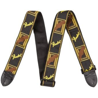 Fender Acoustic Electric Guitar Strap Embroidery Adjustable Leather Ends Blac (คละสี)