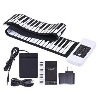 Portable Silicon 88 Keys Hand Roll Up Piano Electronic USB Keyboard and Loud Speaker with One Pedal Outdoorfree - intl