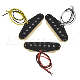 Single Coil Pickups Neck Middle Bridge Set for Electric GuitarParts Black with Cream Covers - intl
