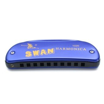 Swan 10 Holes 20 Scales Blues Colorful Boat Hamonica In RandomColor Blue - intl