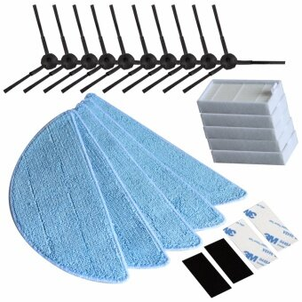 10pcs side Brush+5pcs hepa Filter+5pcs Mop Cloth+4pcs Velcro forchuwi ilife V5 V3 series parts ilife v5pro X5 v5s ilife v5 pro -intl