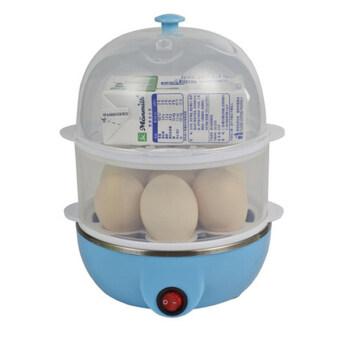 เครื่องต้มไข่ หม้อนึ่งอเนกประสงค์ 2ชั้น - สีฟ้า