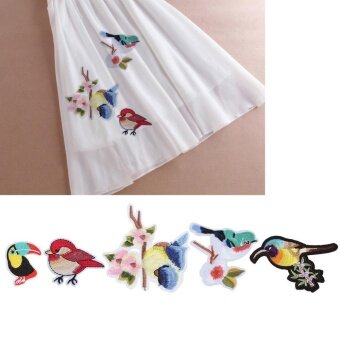 Cloth Sew On Patch Stickers Fabric – intl. 5pcs Birds Embroidery 5pcs .