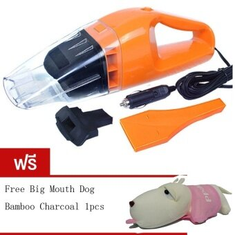 BEST 100W Wet and dry Portable Car Vacuum Cleanerเครื่องดูดฝุ่นในรถยนต์ (Orange) Free Long haired dog bamboocharcoal package (Pink)