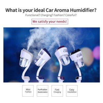Car Mini Ultrasonic Aromatherapy Humidifier Air Purify, Dual USBCar Charger with Auto Off Function Color:White - intl