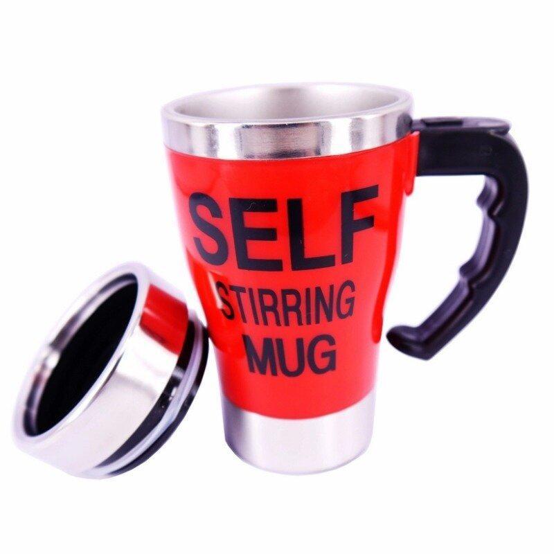 Electric Coffee Stirring Cup แก้วชงกาแฟอัตโนมัติ แบบสแตนเลส 450ML(Red)