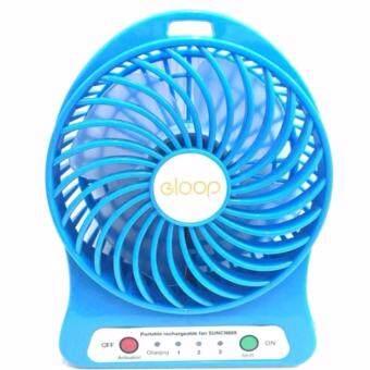 ราคา eloop Mini fan พัดลมพกพาขนาดเล็ก ชาร์จสายUSB ใส่ถ่าน ลมแรง -Blue สีฟ้า