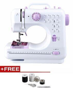 เปรียบเทียบราคา (Free Sewing Kit) Household Multifunction Mini Sewing Machine 505A 12 Stitches Replaceable 11pcs Presser Foot Power Supply LED Light Sewing Classes