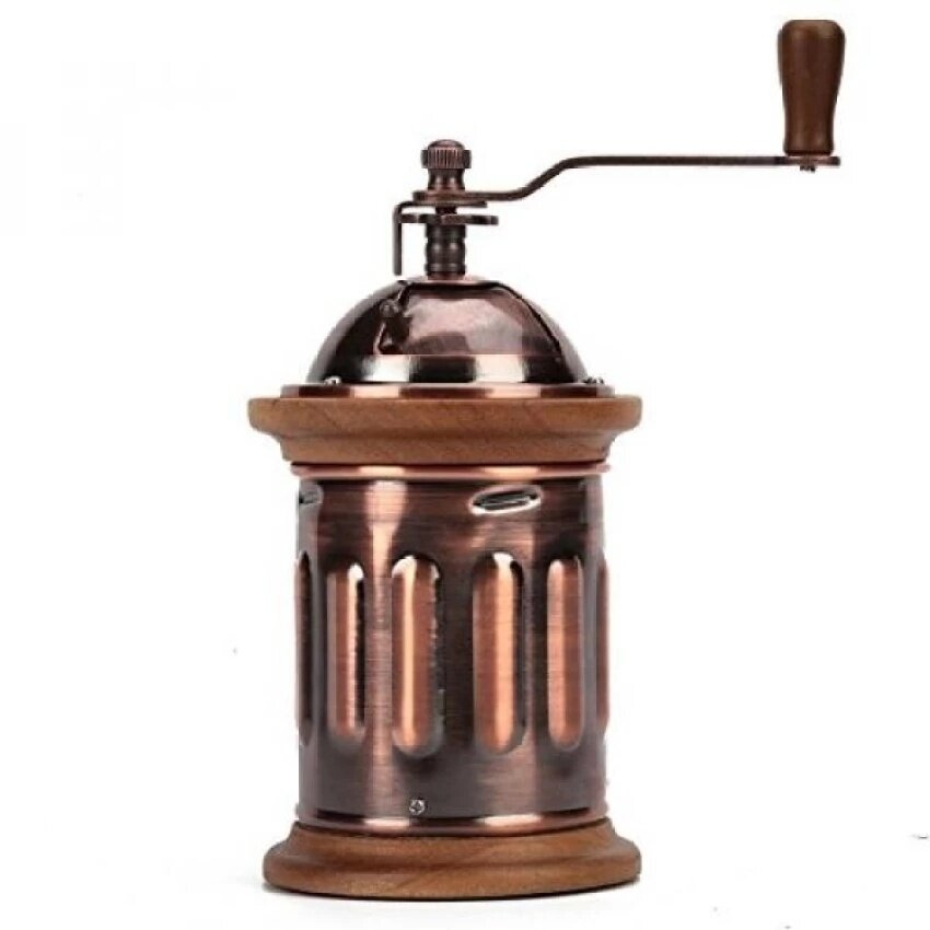Home Manual Canister Stainless steel Burr Coffee Mill Grinder, Stainless Steel Top, and Antique Copper Body  - intl