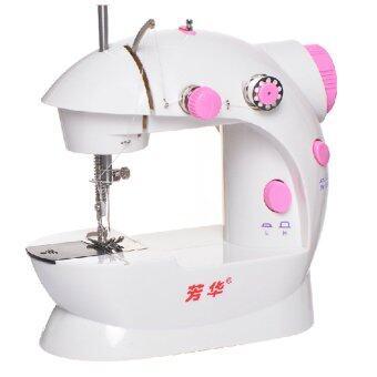 Hot item DIY Sewing Machine จักรเย็บผ้าขนาดเล็ก ปรับได้ 2 ระดับ -สีชมพู (ฟรี !ฐานช่วยเย็บผ้า+อุปกรณ์เสริมครบชุด) (image 1)