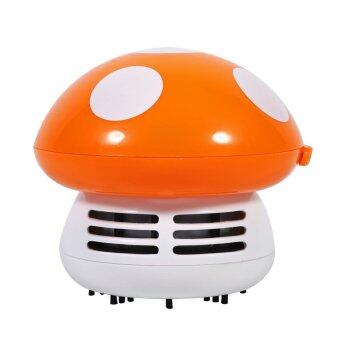 Harga Cute Mini Mushroom Shape Desktop Keyboard Corner Dust Vacuum Cleaner Sweeper New (Orange) - intl