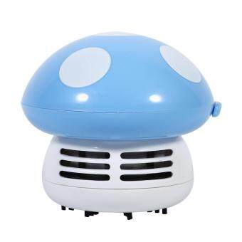Harga Cute Mini Mushroom Shape Dust-cleaning Machine Desktop Corner Dust Vacuum Sweeper (Blue) - intl
