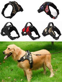 Big Dog Soft Harness Adjustable Pet Dog Big Exit Harness VestCollar Strap for Small and Large Dogs Pitbulls - Leopard(XL)