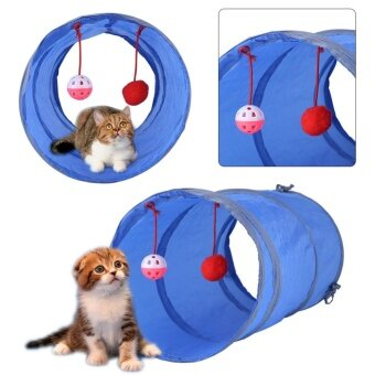 Cat Tunnel Toy Playing Tube with Tinkle Bell & Plush Ball(Blue)- intl