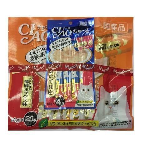 CIAO ขนมแมวเลีย ชูหรู เนื้อสันในไก่ผสมซีฟู๊ด จำนวน 20 ซอง แถมฟรี คละแบบ 1 ห่อเล็ก มูลค่า 50 บาท ( 6 units )