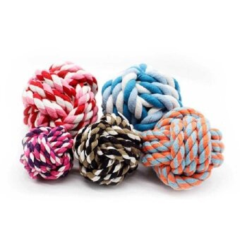 Funny Pet Puppy Dog Cotton Ropes Chews Toy Ball Play Braided BoneKnot Molars - intl