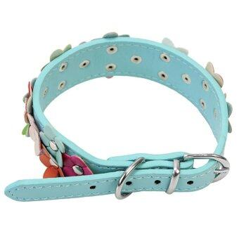 Harga AC Adjustable Faux Leather Flower Neck Collar Metal Buckle For Dog Pet Cat Puppy - intl