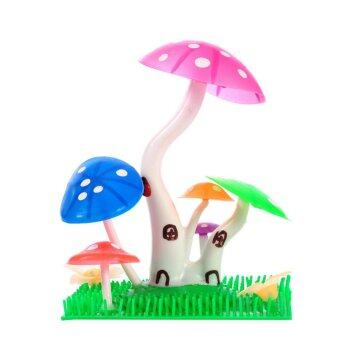 Harga Lovely Fish Tank Decoration Silica Gel Cute Mushroom Cabin Decoration Easy to Clean - intl