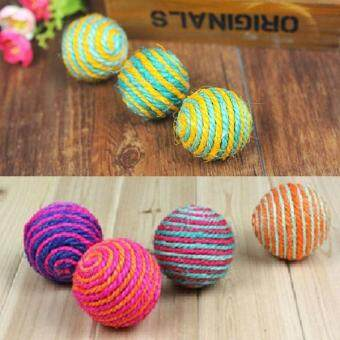 Harga 1x Cat Kitten Sisal Rope Weave Ball Teaser Play Chewing Rattle Scratch Catch Toy - intl
