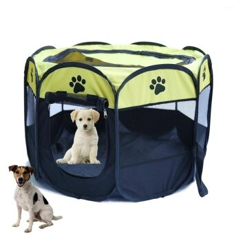 New Hot Portable Folding Pet tent Dog House Fordable Travel Pet Dog Cat Play Pen Sleeping Fence Pet Dog Puppy Kennel Cushion_lemon yellow_L - intl
