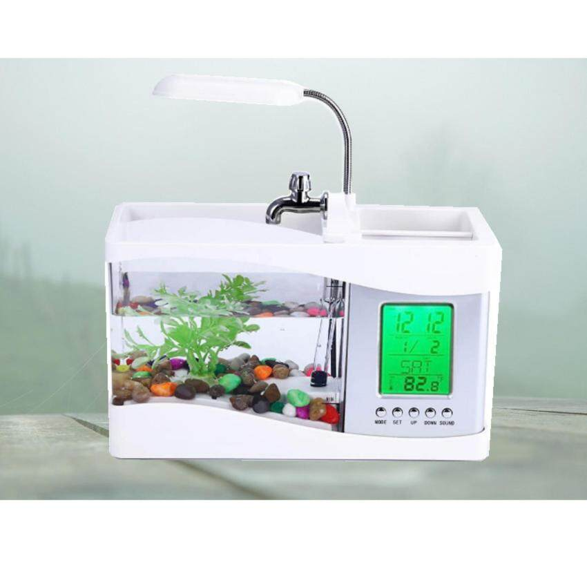 Newfly สีขาว Ajusen USB Desktop Electronic Aquarium หลอดไฟถังปลาขนาดเล็กที่มีการใช้น้ำปั๊ม LED นาฬิกาปลุกปฏิทินเวลาการทำงานสำหรับการตกแต่งสำนักงานที่บ้าน
