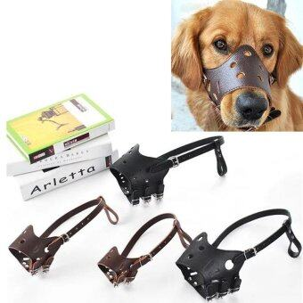 Pet Dog Adjustable Mask Anti Bark Bite Mesh Soft Mouth MuzzleGrooming Chew Stop Coffee 14-18cm - intl - 3