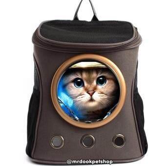 กระเป๋าแคปซูลแมวอวกาศ กระเป๋าเป้อวกาศ กระเป๋าหมาแมว (สีเทาเข้ม)