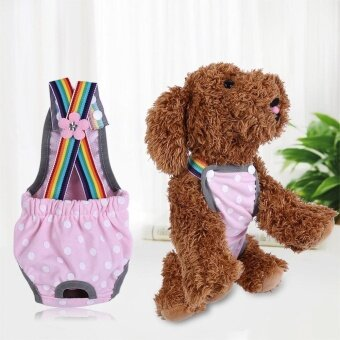 Reusable Washable Female Dog Diaper Menstrual Suspender Cotton Pants(Dot Pink L) - intl