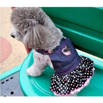 Size S Small Pet DogPuppy Cat Coat เสื้อผ้าสุนัขขนาดเล็กชุดสุนัขขนาดเล็ก ชุดน้องหมา ยีนส์เสื้อผ้าเครื่องแต่งกาย - 5