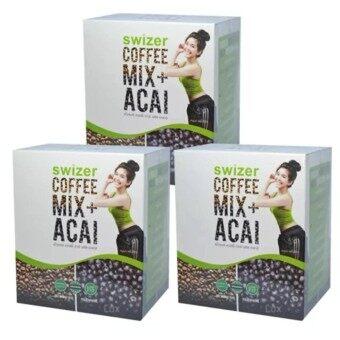 SWIZER COFFEE MIX ACAI BERRYกาแฟเพื่อสุขภาพ สไวเซอร์ คอฟฟี่ มิกซ์พลัส อาซาอิ เบอร์รี่ จากป่าอเมซอนในบราซิล บรรจุ 10 ซอง (3 กล่อง)
