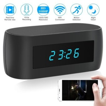1080P HD Wireless WIFI Hidden Spy Alarm Clock IP Camera Support Night Vision APP Control Video and Audio Recording Snapshot Motion Detection Alarm - intl