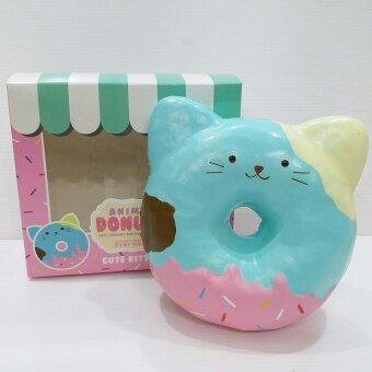 แนะนำ 12 cm Squishy PUNIMARU Jumbo Animal Donut – Blue Cat Sweet ScentedSlow Rising – ส