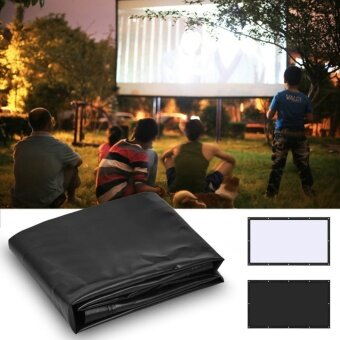 16:9 PVC Movie Projection Screen Curtain Projector Film Home Theater with Hanging Hole 60inch - intl