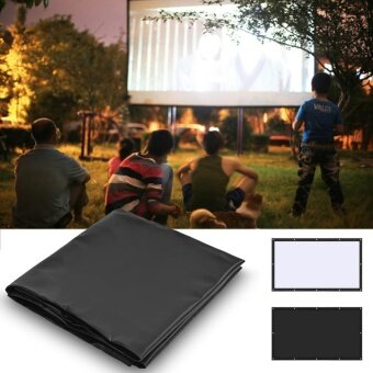 16:9 PVC Movie Projection Screen Curtain Projector Film HomeTheater with Hanging Hole 100inch - intl