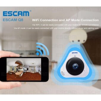 2017 Newest ESCAM Q8 HD 960P 1.3MP 360 Degree Panoramic MonitorFisheye WIFI IR Infrared Camera VR Camera With Two Way Audio/MotionDetector - intl - 4