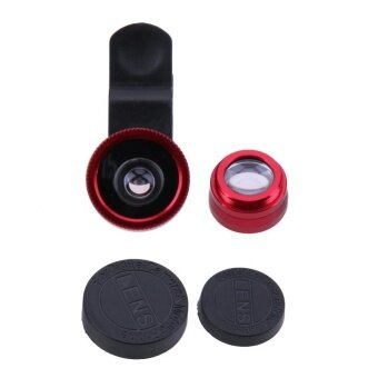 Harga 3 in 1 Fish Eye+ Wide Angle+ Macro Camera Lens Kit for Phone(Red) -intl
