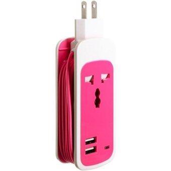 ประเทศไทย ปลั๊กไฟ แบบพกพา 3 in1 Universal Dual USB Socket (สีชมพู)
