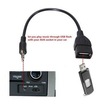 Harga 3.5mm Male AUX Audio Jack To USB Type A Female Car Converter Adapter Cable Lead